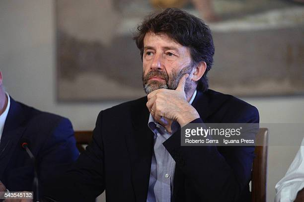 Italian Government Minister for the Culture Dario Franceschini attends the inauguration of the 'Lumiere' exhibition by Cineteca of Bologna at...