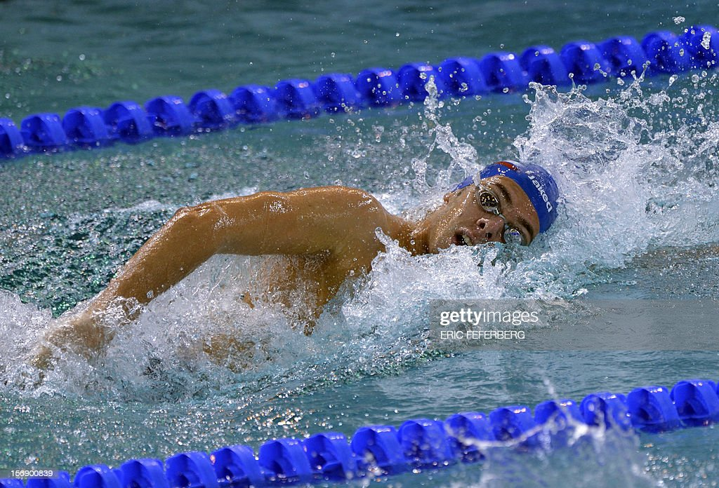 Italian Gregorio Paltrinieri competes to win the gold medal in the men's 1500m freestyle final at the European Swimming Championships on November 24, 2012, in Chartres. AFP PHOTO ERIC FEFERBERG