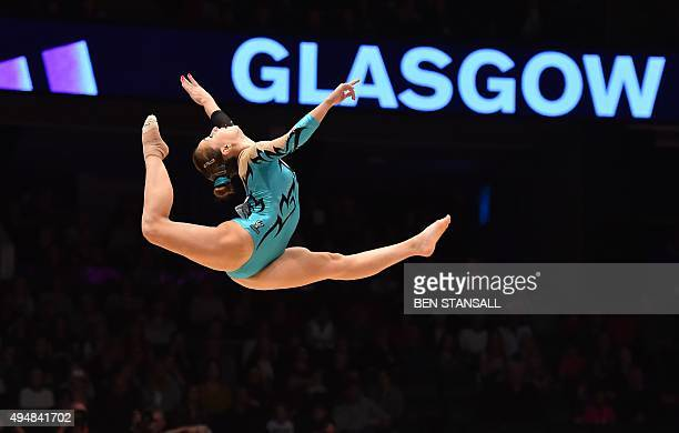 Italian gymnast Carlotta Ferlito competes on the floor exercise during the Women's AllAround final on the seventh day of the 2015 World Gymnastics...