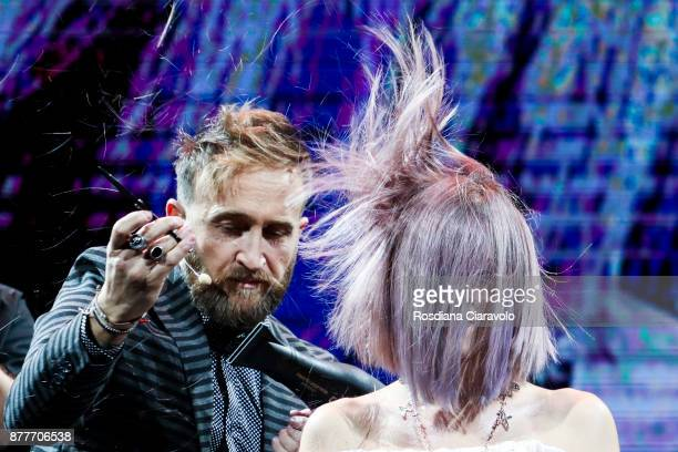 Italian Hairstylist and Hair Influencer Genny D'Auria is seen during the Alfaparf Milano Be Italian by Genny D'Auria show at On Hair By Cosmoprof...