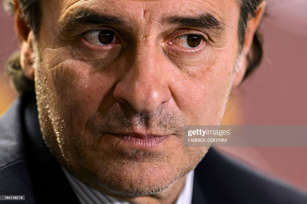 Italian head coach Cesare Prandelli looks on during a press conference on March 20, 2013 in Geneva, on the eve of a friendly football match against Brazil.