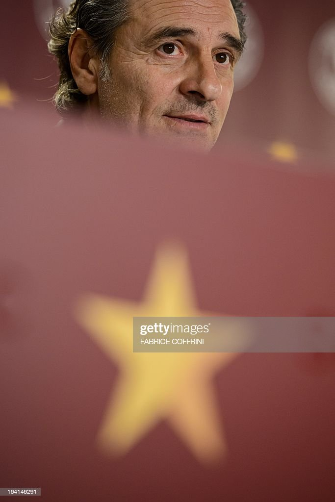 Italian head coach Cesare Prandelli looks on during a press conference on March 20, 2013 in Geneva, on the eve of a friendly football match against Brazil. AFP PHOTO / FABRICE COFFRINI