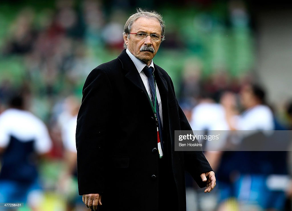 Italian head coach <a gi-track='captionPersonalityLinkClicked' href=/galleries/search?phrase=Jacques+Brunel&family=editorial&specificpeople=557558 ng-click='$event.stopPropagation()'>Jacques Brunel</a> looks on ahead of the RBS Six Nations match between Ireland and Italy at Aviva Stadium on March 8, 2014 in Dublin, Ireland.