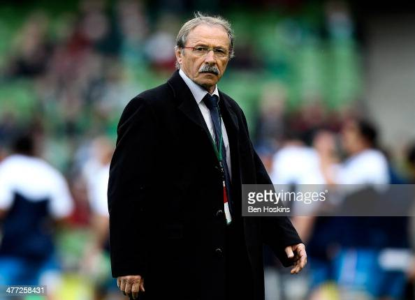 Italian head coach Jacques Brunel looks on ahead of the RBS Six Nations match between Ireland and Italy at Aviva Stadium on March 8 2014 in Dublin...