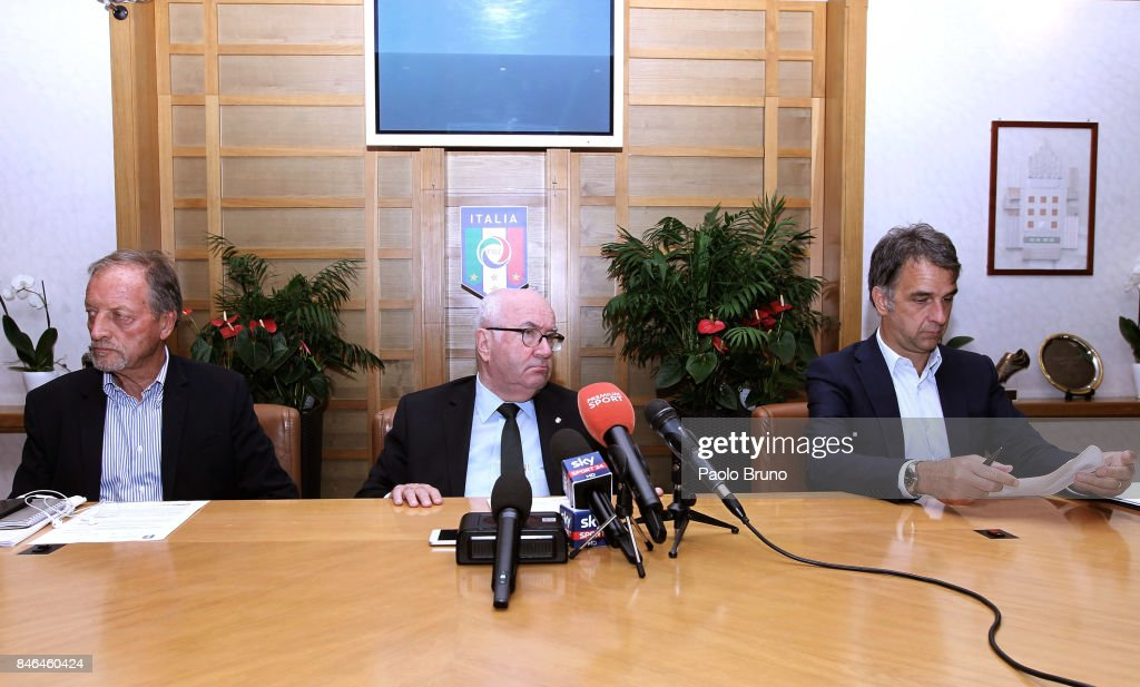 Italian heads coaches President Renzo Ulivieri, FIGC President Carlo Tavecchio and FIGC General Director Michele Uva attend the press conference after the Italian Football Federation (FIGC) federal council meeting on September 13, 2017 in Rome, Italy.