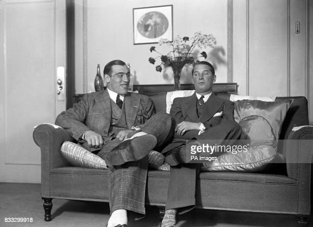 Italian heavyweight boxer Primo Carnera meets with french actor Maurice Chevalier