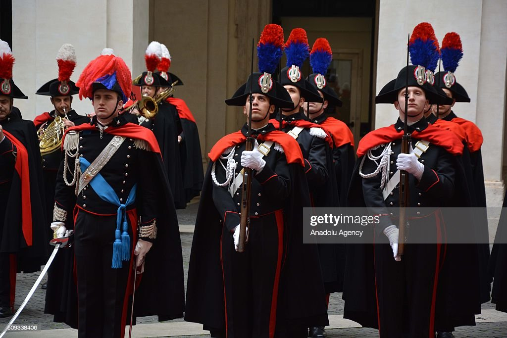 Italian Honor guards perform National anthems during the official welcoming ceremony for Iraqi Prime Minister Haider al-Abadi (not seen) at Chigi palace in Rome, Italy on February 10, 2016.
