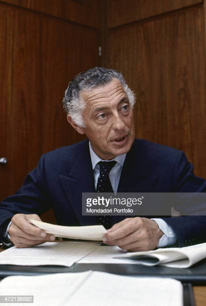 'Italian industrialist and politician Gianni Agnelli president of FIAT reading some documents Turin 1969 '