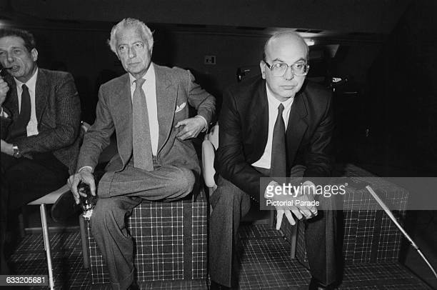 Italian industrialist and president of vehicle manufacturer Fiat Gianni Agnelli with Luciano Lama General secretary of the Italian General...