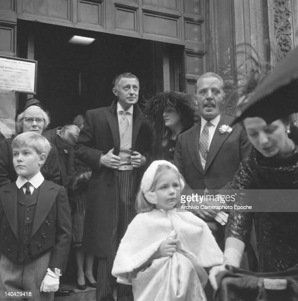 Italian industrialist Gianni Agnelli outside a church Venice 1960