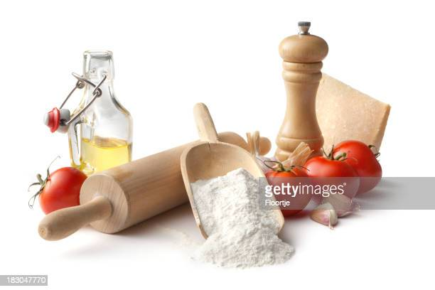 Italian Ingredients: Flour, Tomato, Garlic, Parmesan and Olive Oil