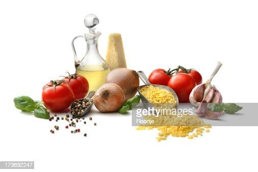 Italian Ingredients: Macaroni, Tomato, Onion, Garlic, Olive Oil and Basil