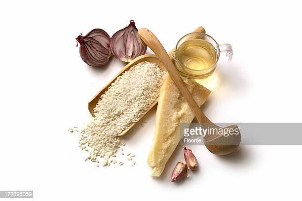 Ingredienti italiani: Risotto riso, cipolla, aglio, il parmigiano e vino