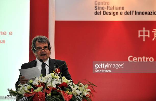 Italian Innovation Minister Renato Brunetta speaks during the ChinaItaly Design And Innovation Center unveiling ceremony at Tongji University on...