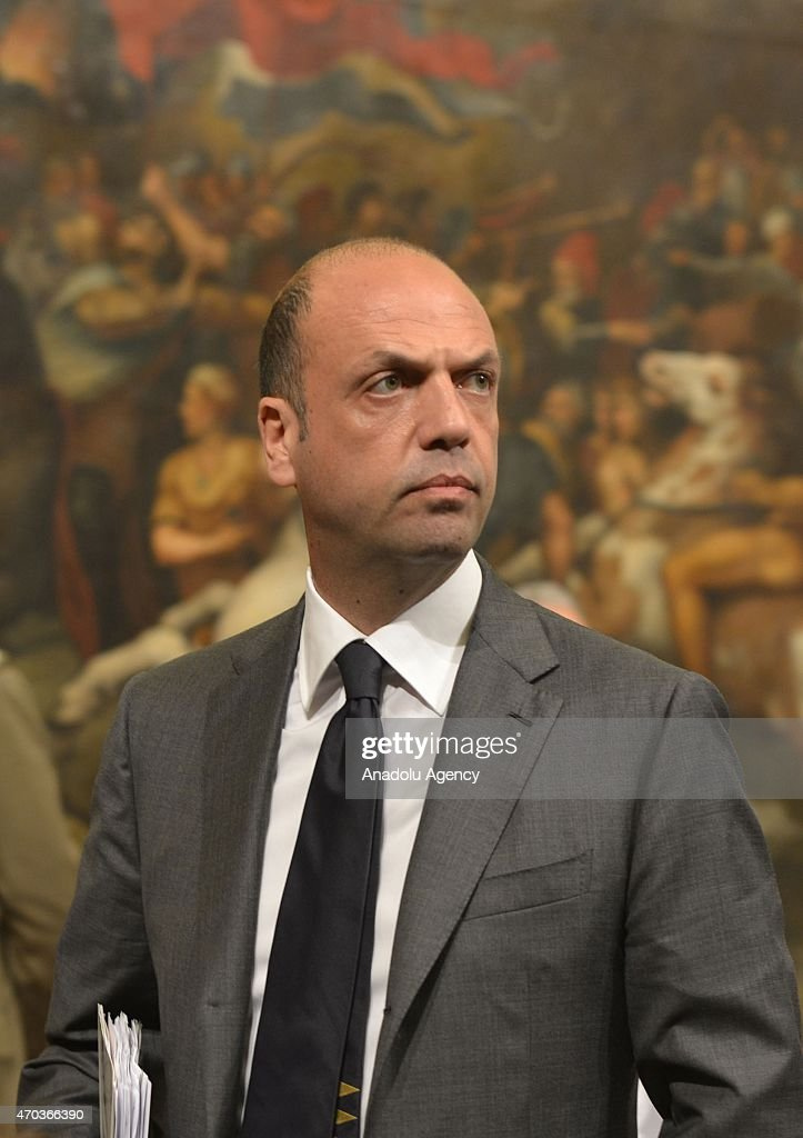 Italian Interior Minister Angelino Alfano attends the Italian Prime Minister Matteo Renzi's press conference regarding 700 migrants feared dead in...