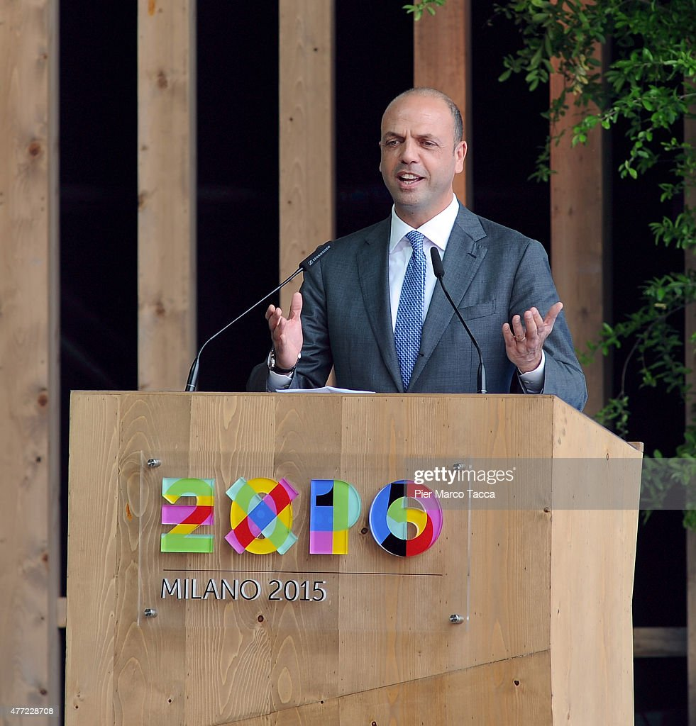 Italian Interior Minister Angelino Alfano make a speech at the opening ceremony of the National Day of Spain at the Expo 2015 on June 15 2015 in...