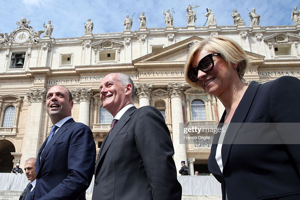 Italian Interior Minister Angelino Alfano, New head of the Police Franco Gabrielli and Italian Defence Minister Roberta Pinotti attend the Pope Francis' Jubilee Audience in St. Peter's Square on April 30, 2016 in Vatican City, Vatican. Pope Francis held an extraordinary Jubilee Audience in St. Peter's Square for thousands of eager pilgrims. The Audience also celebrated the Jubilee for members of the police and armed forces.