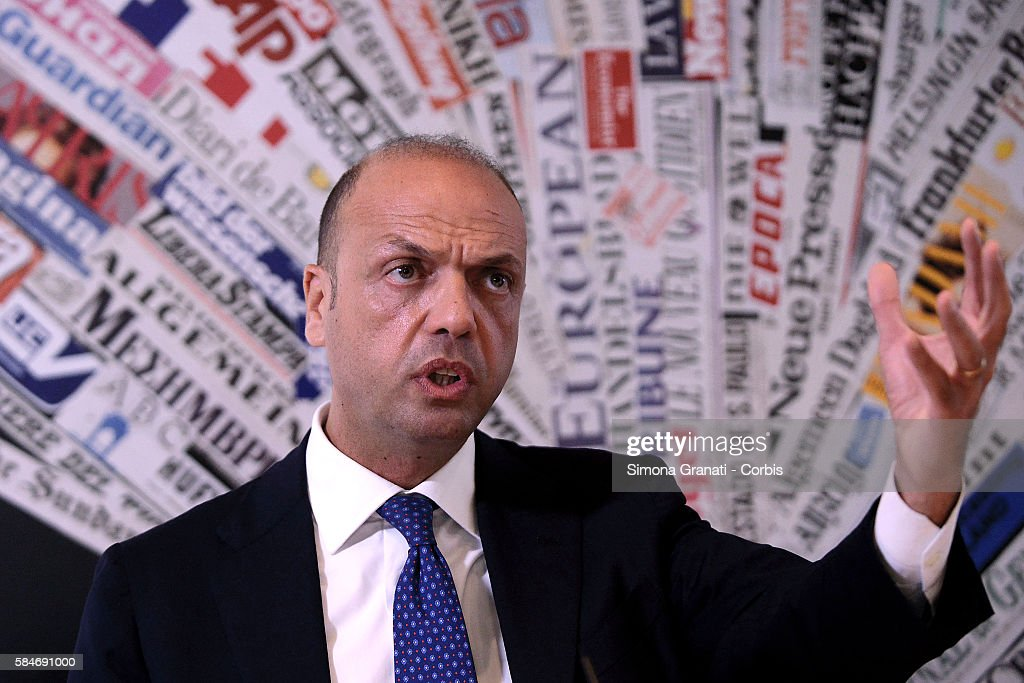 ROME ITALY JULY Italian interior Minister Angelino Alfano presents at the Foreign Press Association the Information Campaign 'Aware Migrants' on July...