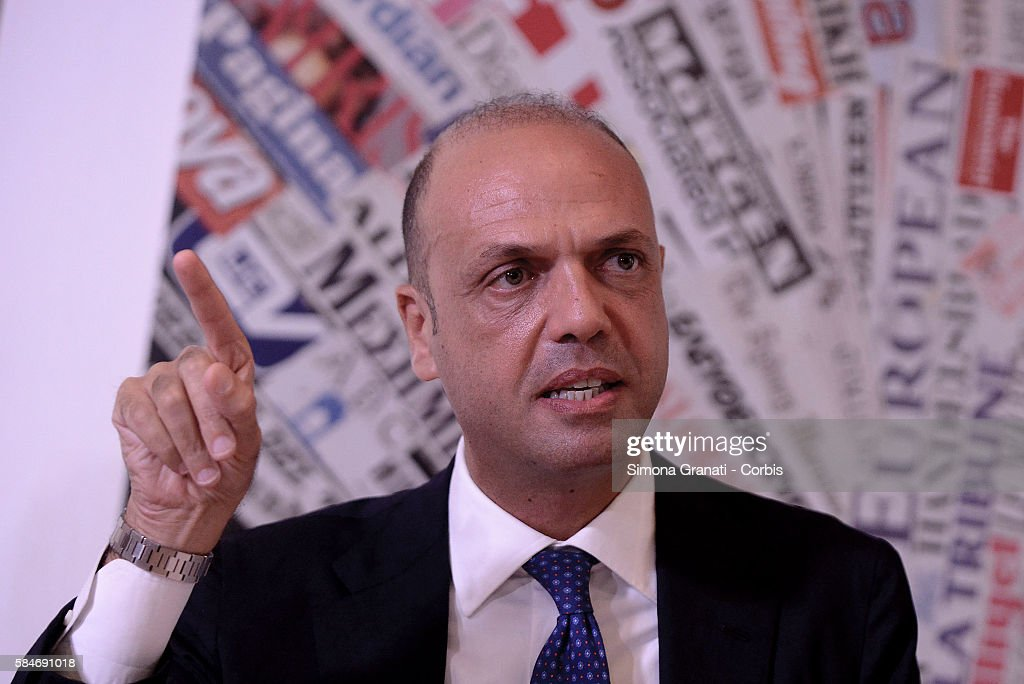 Italian interior Minister Angelino Alfano presents at the Foreign Press Association the Information Campaign 'Aware Migrants' on July 28 2016 in Rome...