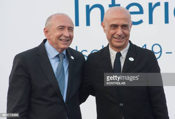 Italian Interior Minister Marco Minniti meets French Interior Minister Gerard Collomb during the G7 Interior Ministerial Meeting in Ischia Italy