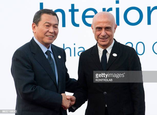 Italian Interior Minister Marco Minniti meets Japanese Chairperson of the National Pubblic Safety Commission Hachiro Okonogi during the G7 Interior...