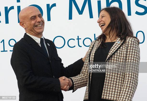 Italian Interior Minister Marco Minniti meets US Acting Secretary of the Department of Homeland Security Elaine Duke during the G7 Interior...