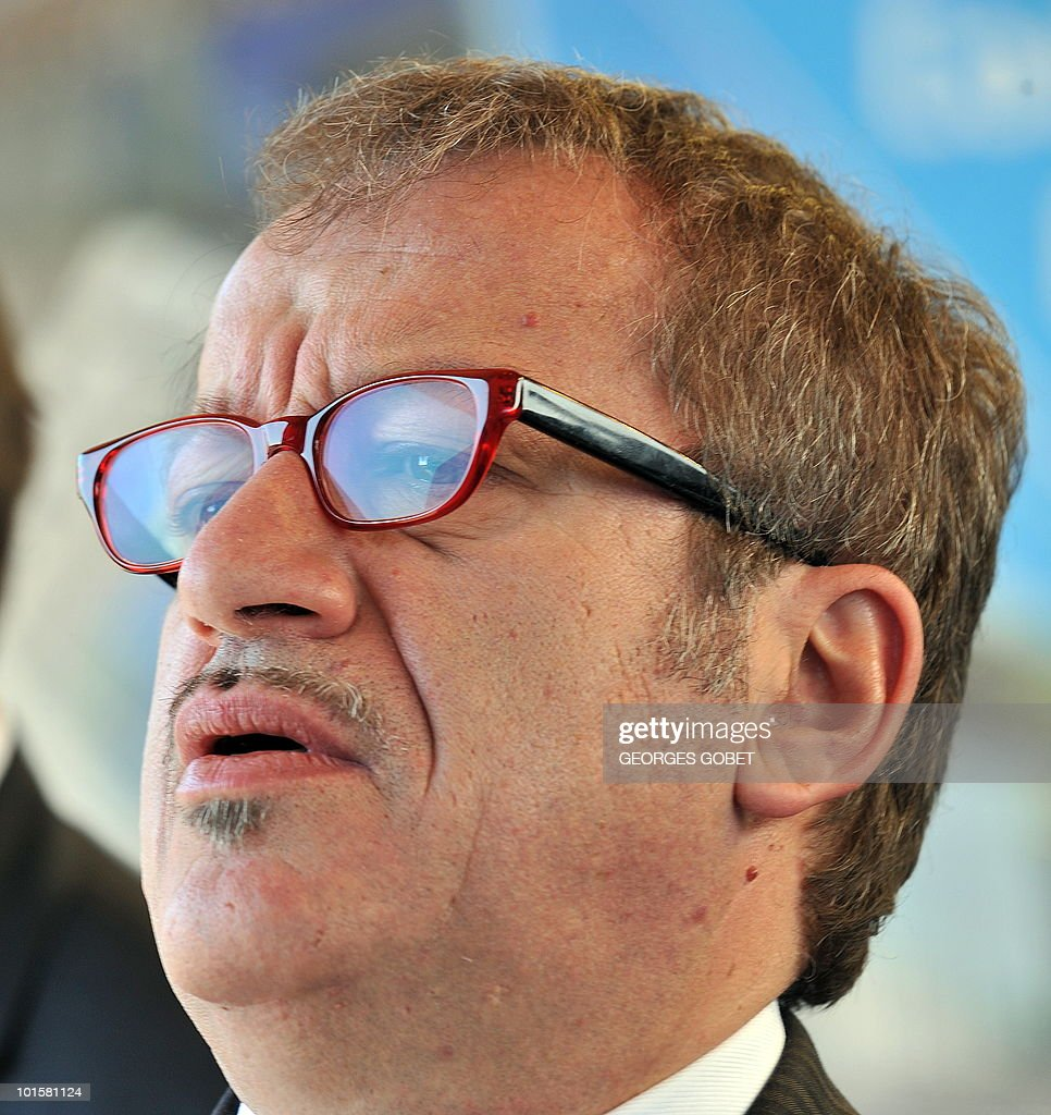 Italian Interior Minister Roberto Maroni talks to the press on his arrival at a Justice and Home Affairs council meeting on June 3, 2010 at the EU Council building in Luxembourg.