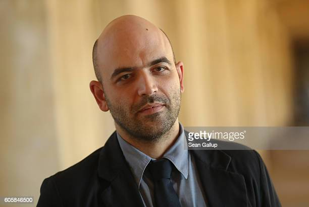 Italian investigative journalist and writer Roberto Saviano poses for a photo prior to receiving the M100 Media Award at the M100 Sanssouci...