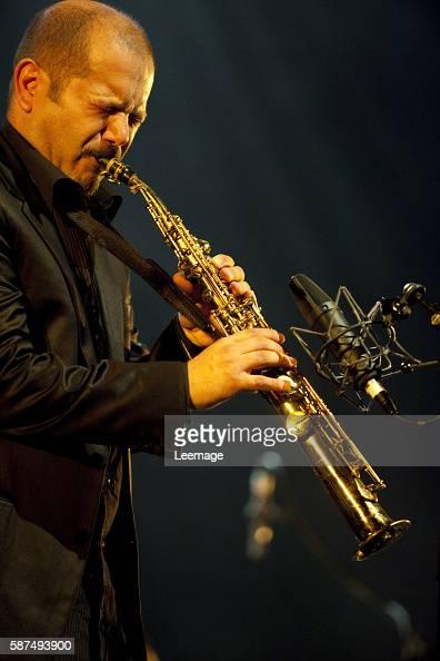 Italian jazz soprano and alto saxophonist Stefano di Battista on stage during the jazz festival at the Grande halle de la Villette