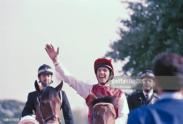 Italian jockey Lanfranco 'Frankie' Dettori wins the St Leger Stakes in Doncaster circa 1996