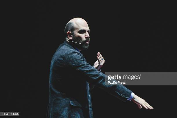 Italian journalist and writer Roberto Saviano speaks on stage during 'Biennale Democrazia'