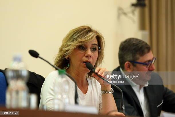 Italian Journalist Concita De Gregorio and moderator during the Press conference at the Ministry of Health to present the new and innovative app for...