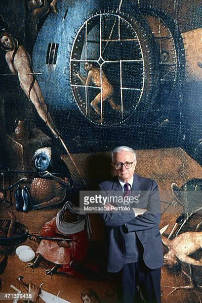 Italian journalist TV host and writer Enzo Biagi posing in the studios of the TV show I dieci comandamenti all'italiana In the background a detail...