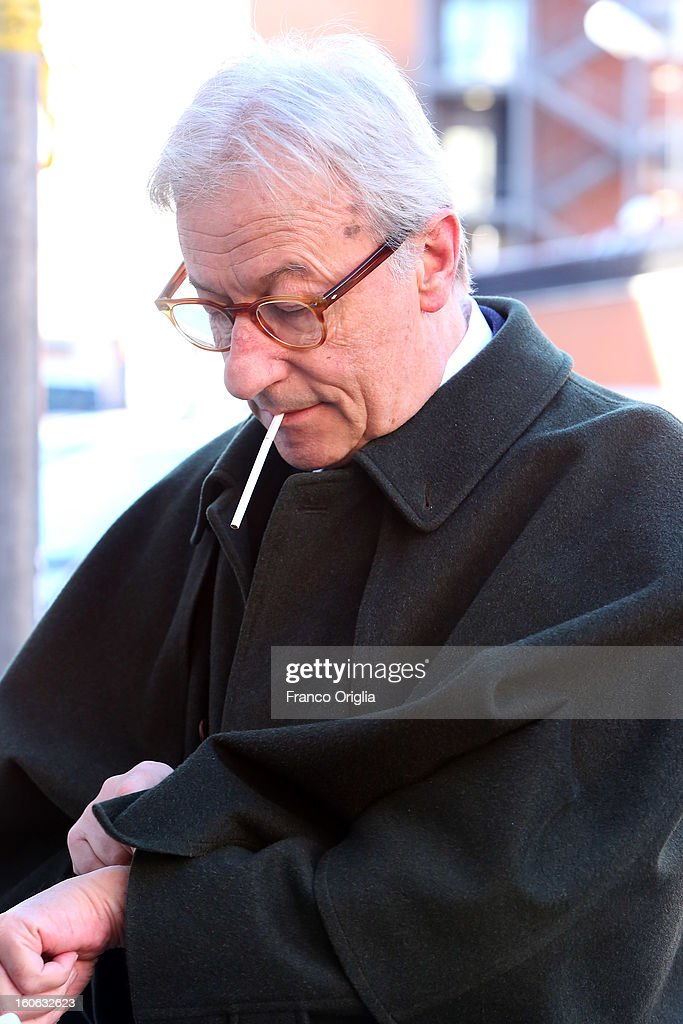 Italian journalist Vittorio Feltri arrives at La7 tv studios for 'L'Aria Che Tira' TV show on February 4, 2013 in Rome, Italy. Silvio Berlusconi has announced yesterday that if the PDL party (People of the Liberty) win the elections scheduled for February 24, they will return the tax to families introduced by the government of Mario Monti.