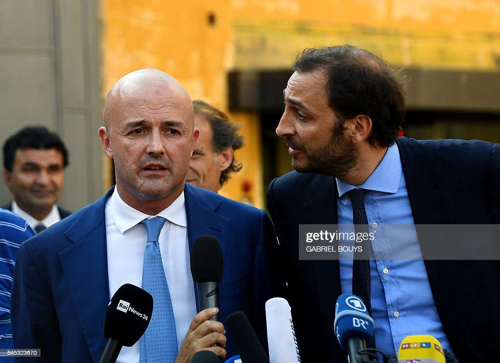 Italian journalists Gianluigi Nuzzi and Emiliano Fittipaldi give a press conference on July 7 2016 in Vatican City after a verdict in the 'Vatileaks'...