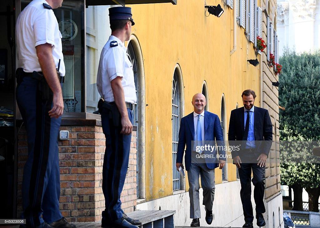 Italian journalists Gianluigi Nuzzi and Emiliano Fittipaldi leave on July 7 2016 the Vatican City after a verdict in the the 'Vatileaks' trial The...