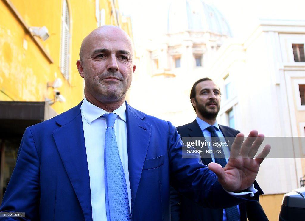 Italian journalists Gianluigi Nuzzi and Emiliano Fittipaldi leave Vatican City on July 7 2016 after the verdict in the 'Vatileaks' trial Two...