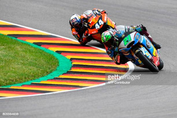 Italian Kalex rider Franco Morbidelli competes during the Moto2 competition of the Moto Grand Prix of Germany at the Sachsenring Circuit on July 2...