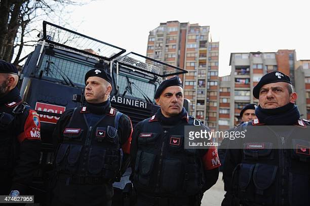 Italian KFOR Carabinieri stand outside a polling station during elections in Mitrovica North to elect the Mayor on February 23 2014 in Mitrovica...