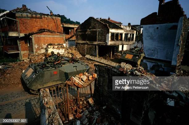 Italian KFOR soldiers patrol old city of Djakovica, Kosovo