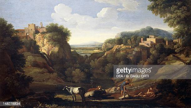 Italian landscape showing a hunting scene by Gaspard Dughet Florence Palazzo Pitti Galleria Palatina
