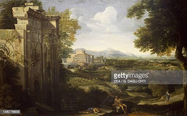 Italian landscape with ruins 16671668 by Gaspard Dughet Florence Palazzo Pitti Galleria Palatina