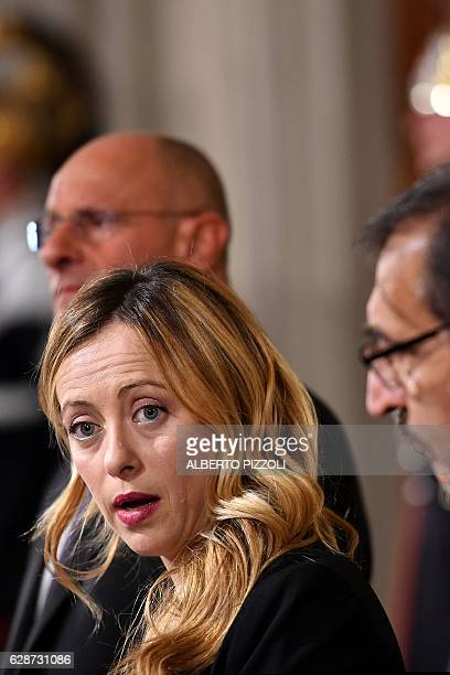 Italian lawmaker Giorgia Meloni President of the Brothers of ItalyNational Alliance nationalconservative party addresses the media following a...