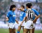17th April 1988 Juventus 3 v Naples 1 Napoli's Diego Maradona left in a dispute with Luigi De Agostini of Juventus Diego Maradona won 91 Argentina...