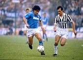 17th April 1988 Juventus 3 v Naples 1 Napoli's Diego Maradona in a race for the ball with Luigi De Agostini of JuventusDiego Maradona won 91...