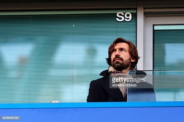 Italian legend Andrea Pirlo awaits kickoff in the English Premier League football match between Chelsea and West Bromwich Albion at Stamford Bridge...