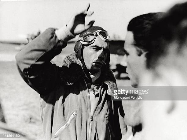 Italian Lieutenant Cesare Marchesi returning from an action over Crete performed with a Stuka bomber Greek front May 1941