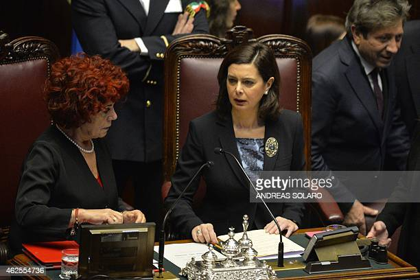 Italian Low Chamber President Laura Boldrini is pictured on January 31 2015 at the Italian Parliament in Rome during the fourth round of vote for the...