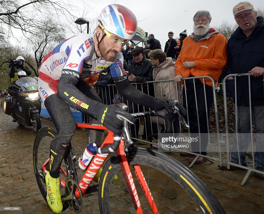 Italian <a gi-track='captionPersonalityLinkClicked' href=/galleries/search?phrase=Luca+Paolini&family=editorial&specificpeople=774515 ng-click='$event.stopPropagation()'>Luca Paolini</a> of Team Katusha competes during the 77th edition of the Gent-Wevelgem one day cycling race on March 29, 2015 in Wevelgem. AFP PHOTO / BELGA PHOTO / ERIC LALMAND **BELGIUM OUT**