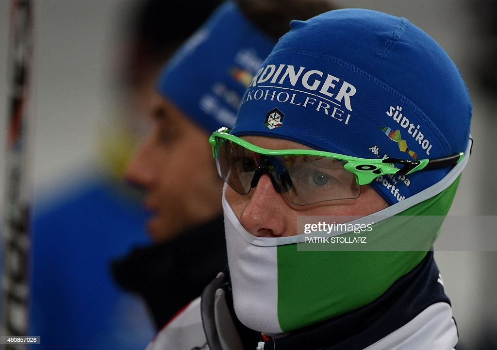 Italian <a gi-track='captionPersonalityLinkClicked' href=/galleries/search?phrase=Lukas+Hofer&family=editorial&specificpeople=6583823 ng-click='$event.stopPropagation()'>Lukas Hofer</a> looks on start during the Biathlon World Team Challenge in Gelsenkirchen, Germany on December 27, 2014.